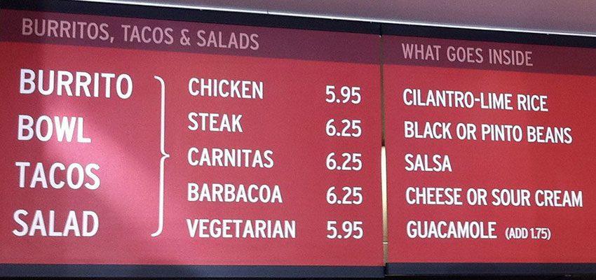 Chipotle's what (their menu)
