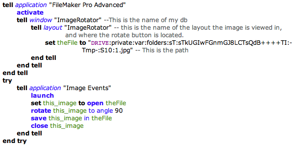AppleScript to rotate an image