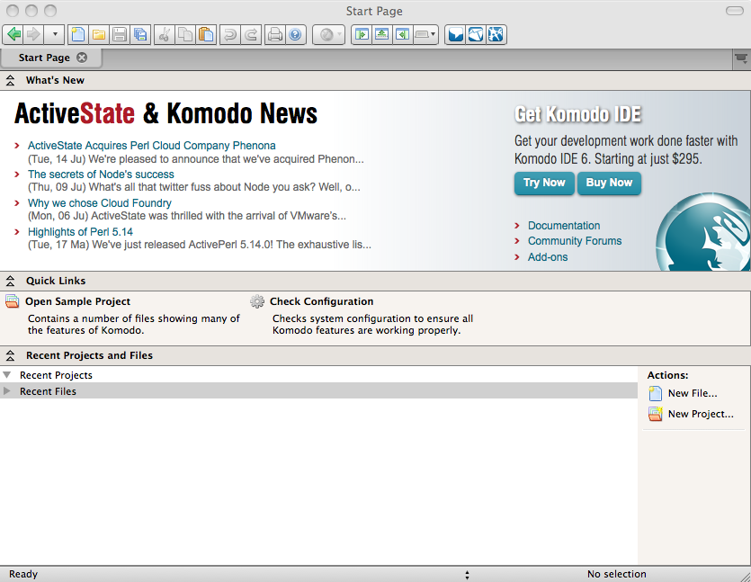 KomodoEdit start page