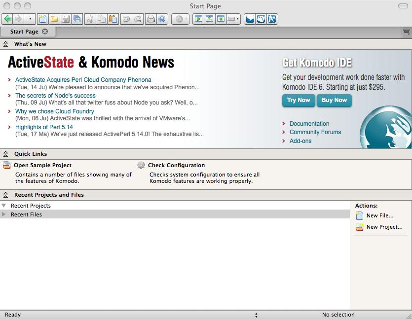 KomodoEdit start page