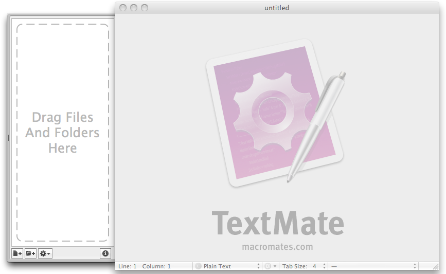 TextMate Start-up screen with drag and drop hot-spot