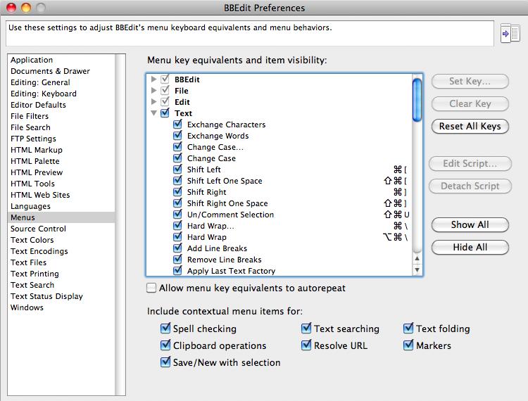 BBEdit preference options, editing tools and keyboard shortcuts