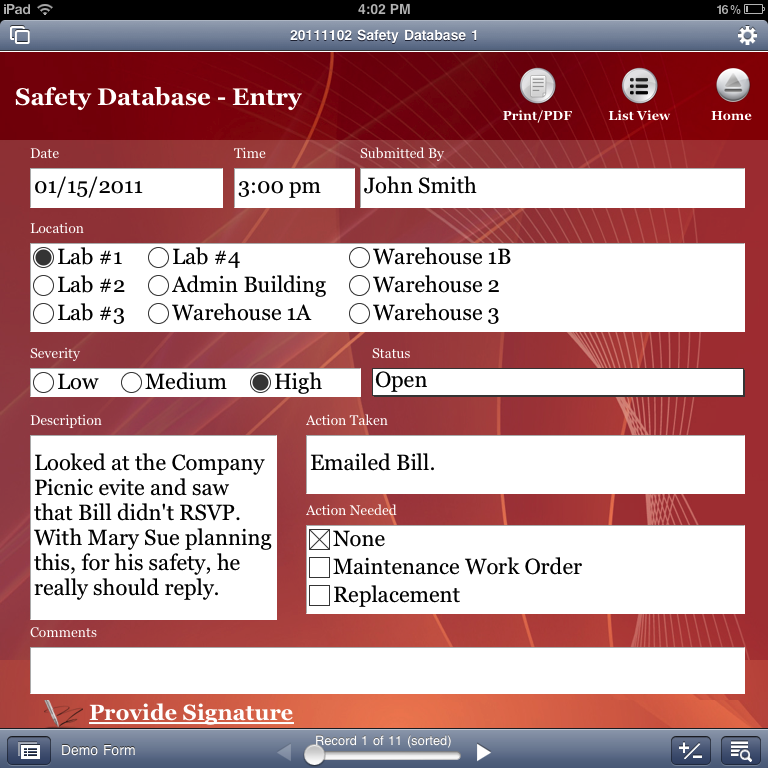 iPad safety app in portrait orientation