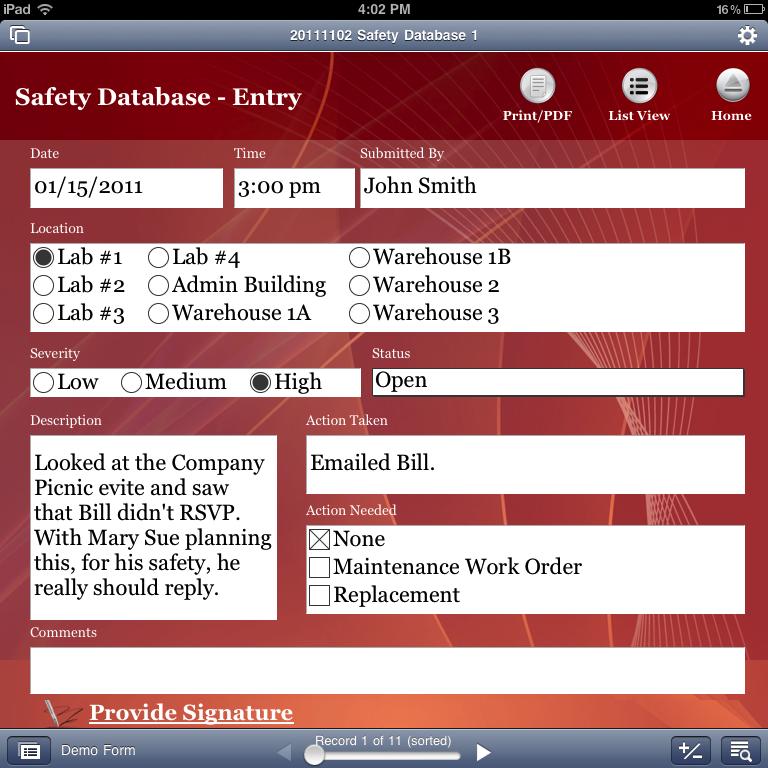iPad safety app in portrait orientation