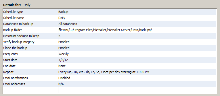 Modified daily backup schedule
