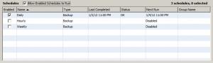 Default backup schedules for FileMaker Server