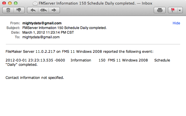 Email for daily backup schedule