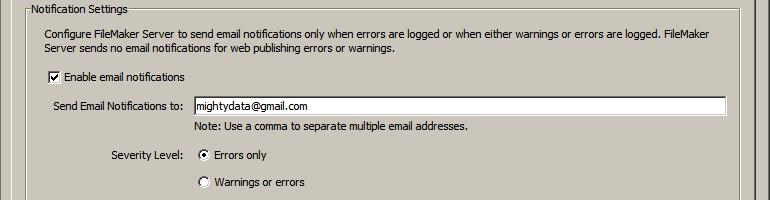 Notification settings for FileMaker Server