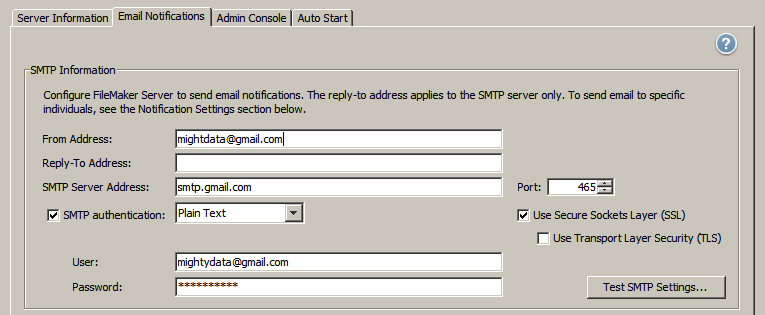SMTP settings for FileMaker Server