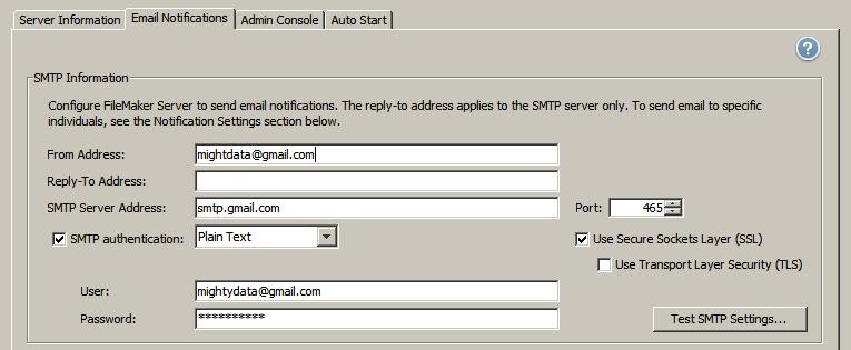 SMTP settings for FileMaker Server