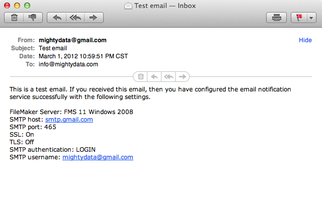 Test email from FileMaker Server