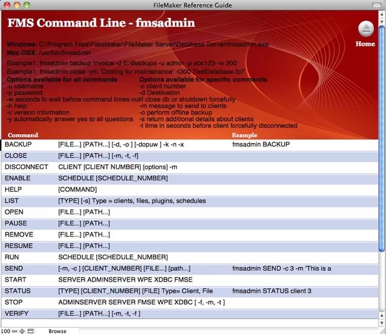 Reference guide for FMS command line