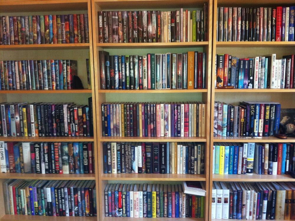 Bookcase shelves full of books