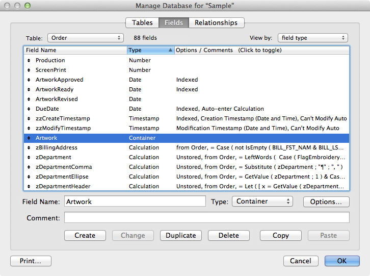 Container field in FileMaker 12