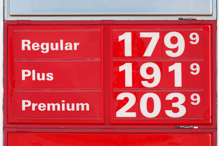 Gasoline prices for Regular, Plus and Premium