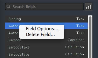Field Options menu